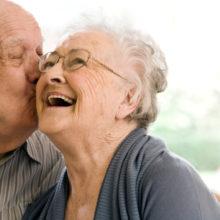 Senior couple enjoying stay at nursing home